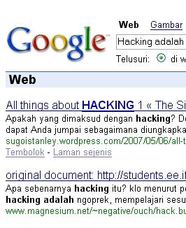 Hacking adalaha dalam googlekeyword