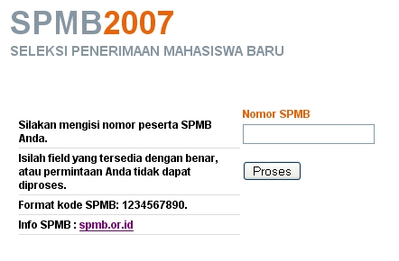 Form pengumumanSPMB